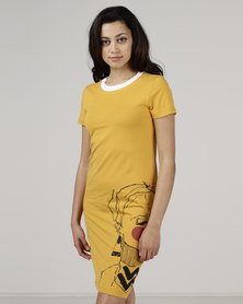Utopia by Ereshaah T-shirt Dress With Face Print Mustard