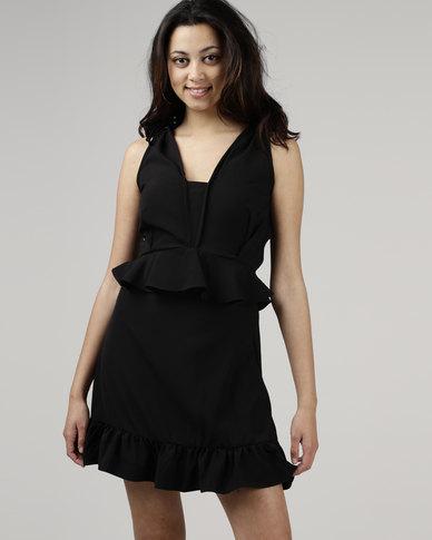 Utopia by Zandre Georgette Ruffle Dress Black
