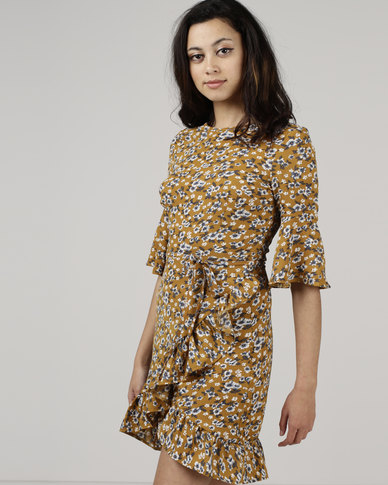 Utopia by Zandre Floral Flare Dress Mustard