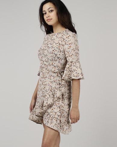 Utopia by Zandre Floral Flare Dress Cream