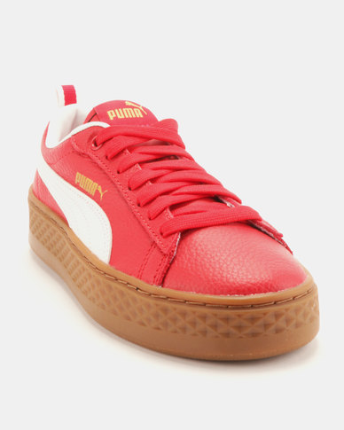 Puma Sportstyle Core Smash Platform Sneakers Red White  8e7ceb88b