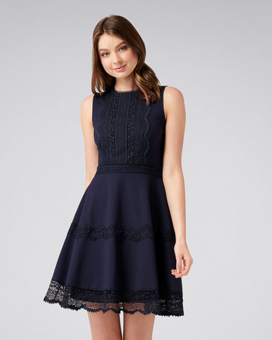 ba0f248c870 Forever New Tara Ponte Spliced Lace Dress Navy
