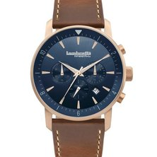 Mens Watch With Leather Rose Gold Blue Brown