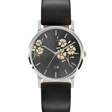 Tick & Ogle Ladies Watch Leather Silver Black