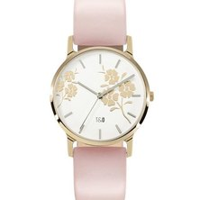 Tick & Ogle Ladies Watch - Leather Gold White Pink