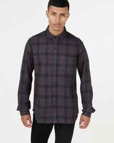 Deacon Long Sleeve Novel Shirt Burgundy