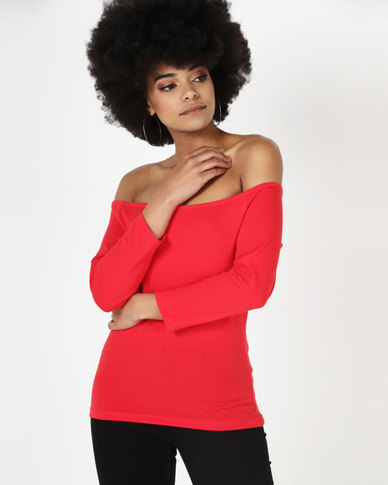 Utopia Off The Shoulder Tee Red