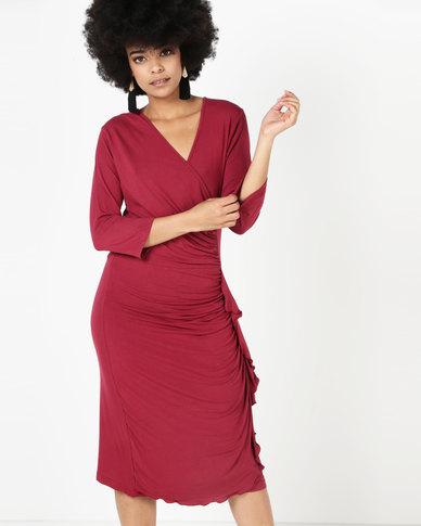 Utopia Ruffle Dress With 3/4 Sleeve Burgundy