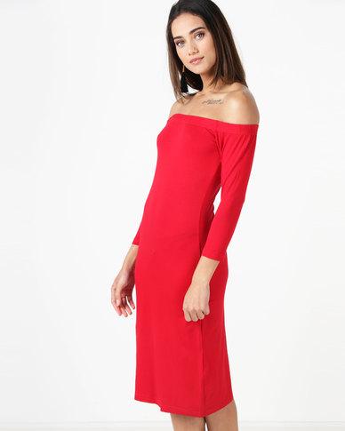 Utopia Bardot Dress Red