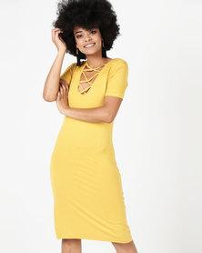 Utopia Lace Detail Sheath Dress Mustard