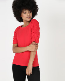 Utopia Knit Top With Ruched Sleeve Red