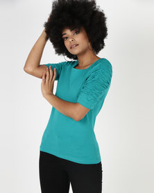 Utopia Knit Top With Ruched Sleeve Green