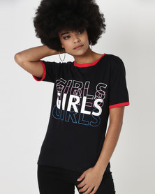 Utopia GIRLS Slogan Print Tee Black