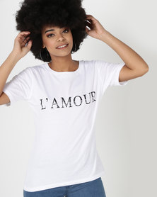 Utopia L'Amour Print T-Shirt White