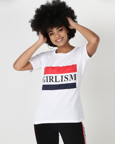 Utopia Girlism Print T-Shirt White
