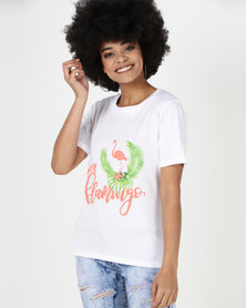Utopia Flamingo Print Tee White
