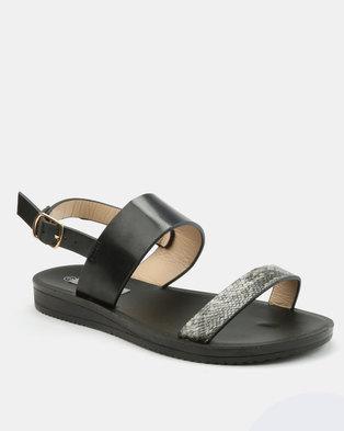5a576a4ec Utopia Snake Embossed Sandals Black