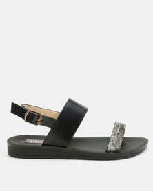 Utopia Snake Embossed Sandals Black