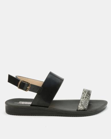 Utopia Snake Embossed Sandals Black