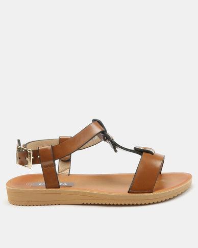 Utopia Fabric Block Sandals Tan