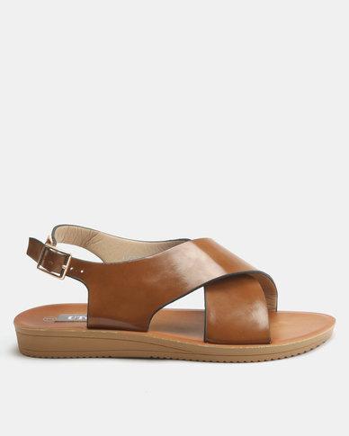 Utopia Cross Strap Sandals Tan