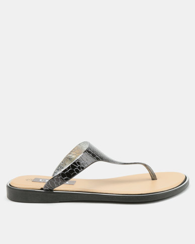 Utopia Jelly Thong Sandals Black