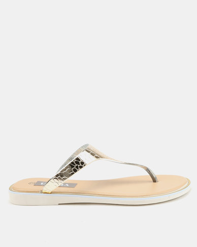 Utopia Jelly Thong Sandals Gold