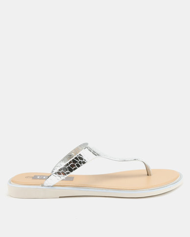 Utopia Jelly Thong Sandals Silver
