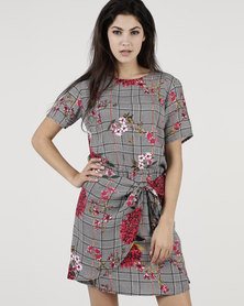 Bukamina Belted Shift Dress Check