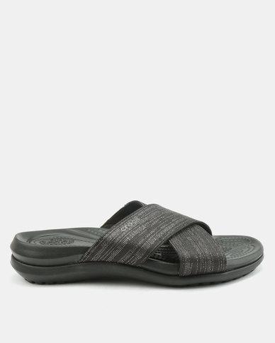 6cd2c872fd95 Crocs Capri Shimmer Xband Sandals Black
