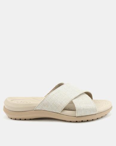 0a419c810989 Crocs Capri Shimmer Xband Sandals Oyster Cobblestone