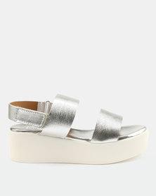 Steve Madden Rachel Leather Sandals Silver