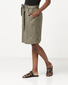 Jeep 54cm Linen Cotton Elasticised Midi Skirt Olive