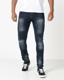 Utopia Mens Fashion Jeans Blue