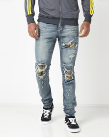 Utopia Mens Acid Wash Jeans With Camo Rip And Repair Blue