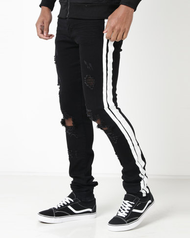 Utopia Mens Skinny Leg With White Side Stripe Black