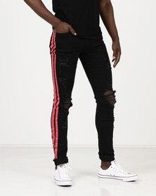 Utopia Mens Dark Skinny Leg Jeans With Red Side Stripe Black