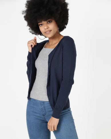 a2ff08b4a New Look Crew Neck Cardigan Navy