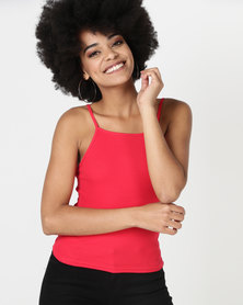 New Look Square Neck Cami Red