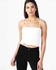 New Look Square Neck Shirred Cami White