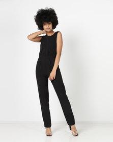 New Look Plunge Tie Back Jumpsuit Black
