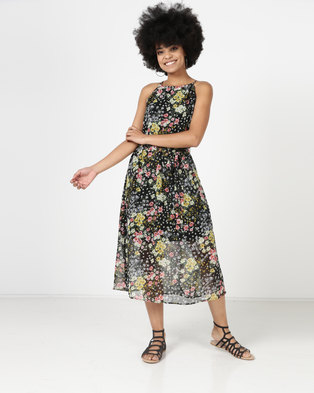 New Look Floral High Neck Belted Midi Dress Black