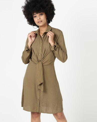 New Look Tie Front Shirt Dress Khaki