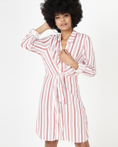New Look Stripe Tie Front Shirt Dress Off White