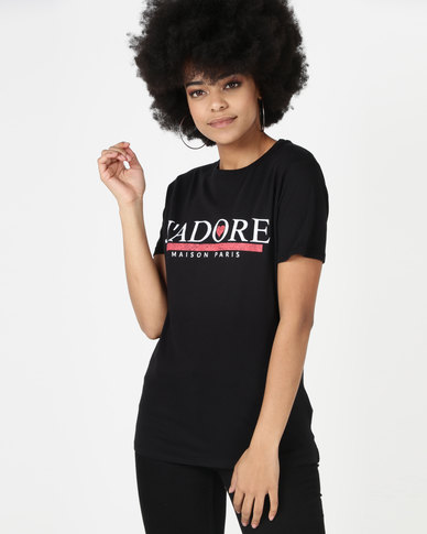 New Look J'Adore Heart GF Tee Black