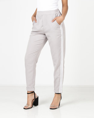 New Look Double Side Stripe Tapered Trousers Grey