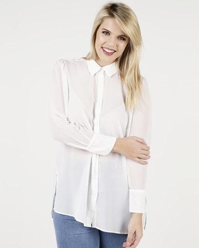 New Look Curves Chiffon Longline Shirt White
