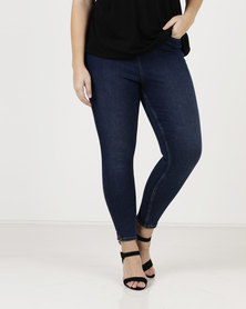 New Look Curves Rinse Wash High Waist Jeans Navy