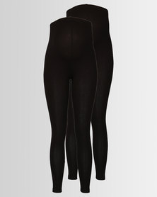 New Look Maternity 2 Pack Over Bump Leggings Black