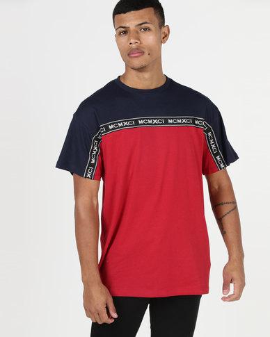 New Look MCMXCI Slogan Tape Block T-Shirt Red